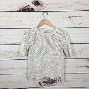 LOFT   Oatmeal Knitted Shirt Sleeeve Sweater